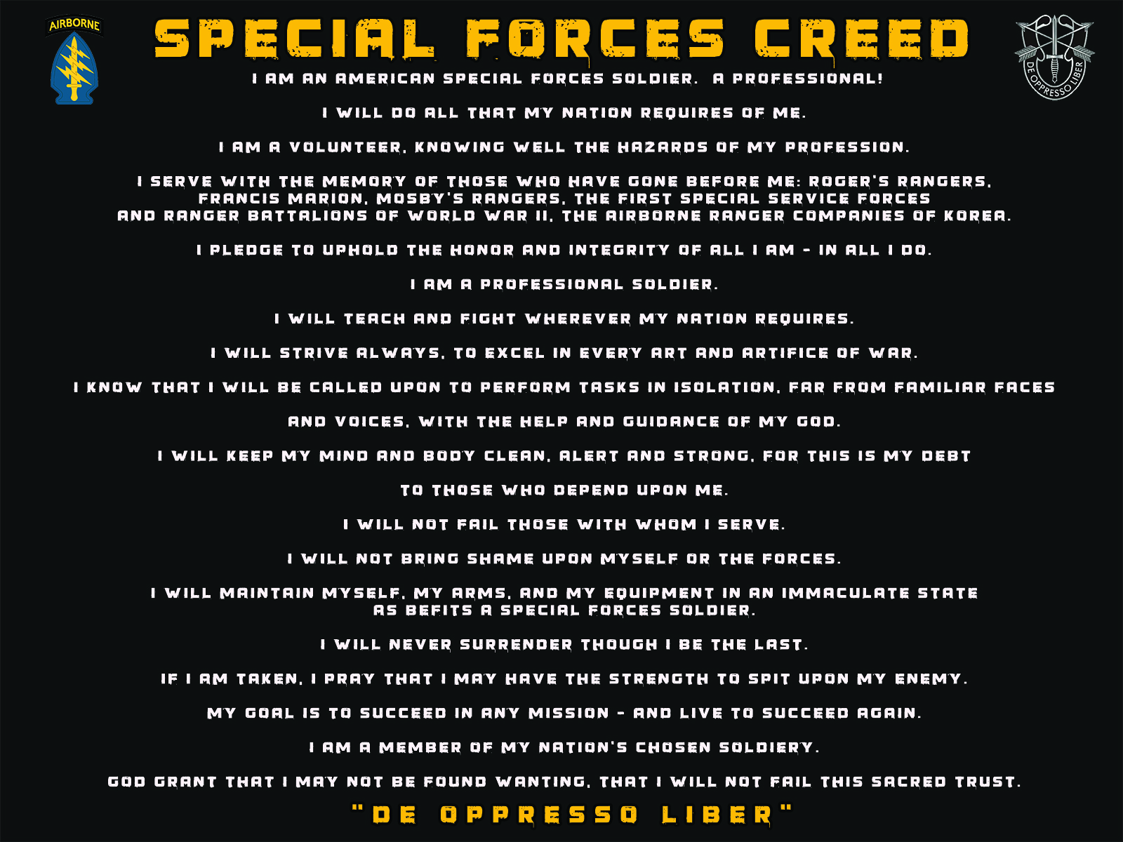 Army Special Forces Creed Poster   Honor Duty Valor