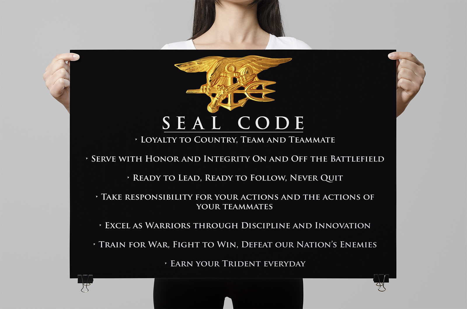 """SEAL Code: a Warrior Creed. Recent experience in Afghanistan with Medal of Honor winner LT Murphy and his teammates exemplifies this code of conduct. The SEAL code, however, was not recorded or """"written in stone"""" and as the community grew, it needed some grounding. United States Navy ."""